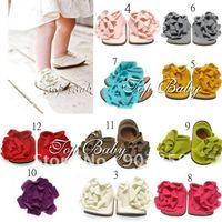 48 pairs /lot TOP BABY prewalker baby shoes lovely infant flower foot wear sandals toddel Baby's walker shoe 10 colors