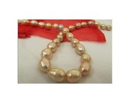 """HUGE NATURAL SOUTH SEA GOLD PINK PEARL NECKLACE 18"""" 14k"""