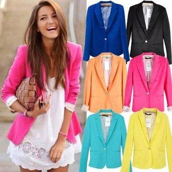 New Fashion Woman Candy Brand Suit Blazer Turn Back Cuff Jacket (black/blue/rose/orange/yellow/ 6colors) Free Shipping