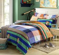 Colorful Stripe Lattice Bed sheet 4pcs Full/Queen bedding sets 100% Cotton Duvet/Comforter covers home textile