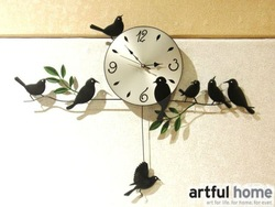 Free ship Strong packing Mute Quartz Little Bird Wall Clock Home Decorative Craft three color black white red(China (Mainland))