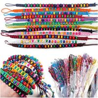 10Pc New Handmade Mixed Color Wooden Beads Braid Cord Strand Friendship Bracelet[B606*10]