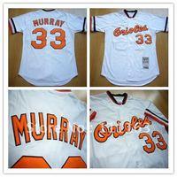 Free Shipping-Baltimore Orioles Eddie Murray 33# White Throwback Baseball Jersey size:48~56+Mix Order