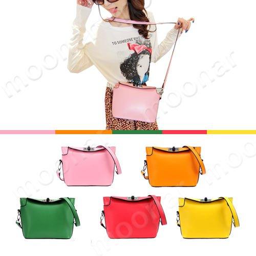 Faux Leather Girl's Shoulder Sling Bags Handbag Weekend Purse Twist Lock Closure B342