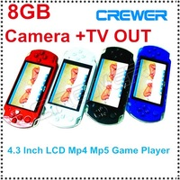 New Real 8GB 4.3 inch  LCD Screen  Mp3 Mp4 Mp5 Player +Game + Camera +TV OUT  in Gift box Free Shippping