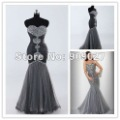 Trumpet/ Mermaid Sleeveless Floor Length Beading Gray Tulle Formal Prom Dress
