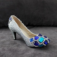 Drop shipping New 2 colors Platforms Sexy high heels shoes handmade wedding Rhinestone Crystal women's Pumps size 34-40