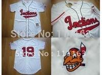 Free Shipping-Mitchell & Ness Cleveland Indians #19 Bob Feller  Cream Throwback Baseball Jersey size:48~56+Mix Order