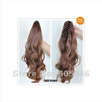 Free shipping lenght 20inch fashion woman lady's wave ponytail DIY claw clip hair extensions four color you can choose