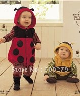 Baby Autumn rompers, Bees romper, ladybugs jumpsuits, baby clothing 3sets/lot free shipping #2069