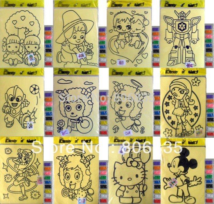 trasporto libero 20.5 x 15 cm bambini pittura di sabbia , giocattoli fai da te , colore sabbia pittura di arte , giocattolo educativo , pittura bambini set(China (Mainland))