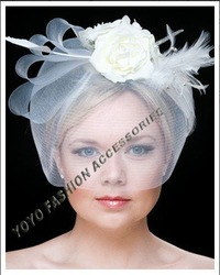 fashion white fascinator hairband.lady flower hair accessory with veil cage hot sell 6pcs/lot free shipping(China (Mainland))