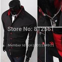 Free Shipping New Mens Casual Slim Fit Stylish Dress Shirts Colours:Black Szie:,M,L,XL,XXL,XXXL