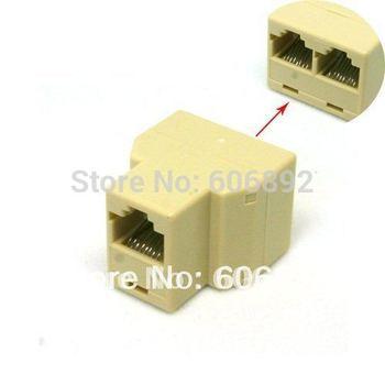 5pcs/lot Wholesale New RJ45 1 to 2 LAN Network Cable Y Splitter Extender Plug QT111 +Free Shipping Drop Shipping