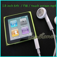 8GB 6th Generation Clip MP3 MP4 Player / touch screen shakable FM Radio Video Player (+earphone+crystal box ) + Free Shipping