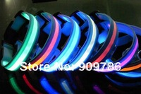 DHL Free shipping 40pcs/lot  flashing LED dog collar blue nylon webbing pet collar have 7 color light