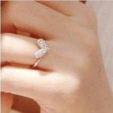 Min.order is $5 (mix order)free shipping,Romantic ring Little Cute Heart Crystal adjustable Ring (J381)(China (Mainland))