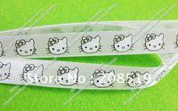 R001 Satin ribbons 10mm width 50yards/roll cartoon kitty print white ribbons garment accessory