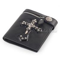 Black Skull Cross Wallet Purse Zip Badge Bifold Coin Pocket Chain Option  Mens Boys wallet  UW07