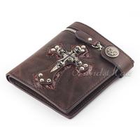 Mens Cross Skull Burgundy Zip Bifold Wallet Purse Coin Pocket Brown PU Leather High Quality Fashion UW08