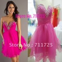 Free Shipping Real Sample Organza Fluffy Ruffles Short Cocktail Dress Bead Rhinestone Crystal Mini Pageant Gown Homecoming Dress