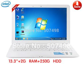 Fast shipping 13.3 Inch Cheap Win7 Laptop Notebook Intel Atom D2500 2GB DDR3 RAM 250GB HDD, 1.3M Pix Webcam, WIFI 6 Cell battery