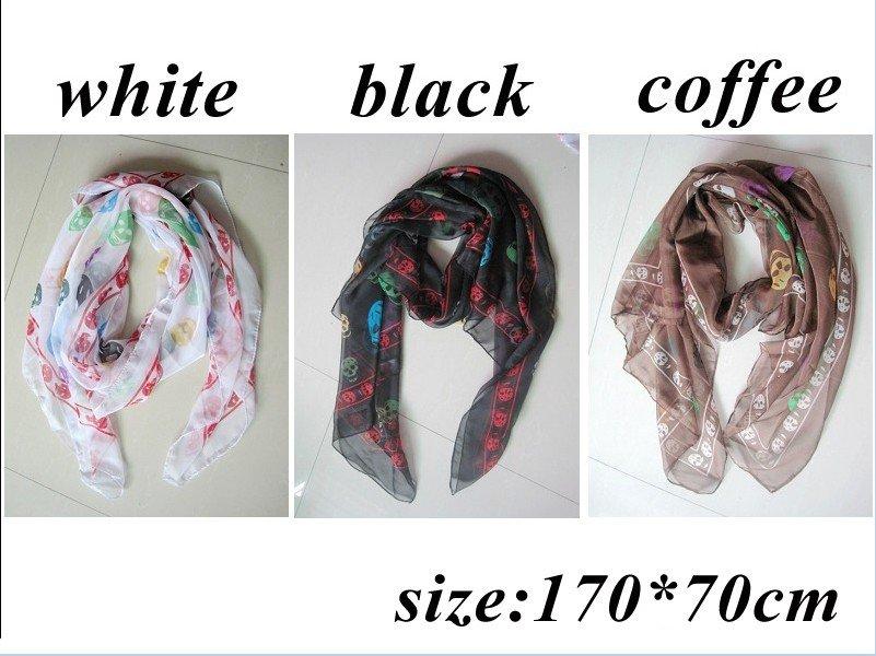 Fashion silky colorful rainbow skull print scarf 170*70cm,12pcs/lot free shipping(China (Mainland))