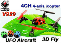 WL V929 2.4G 4CH 4-axis UFO icopter Aircraft 3D Fly RC Helicopter GYRO RTF 4 axis V911 Upgrade Free Shipping
