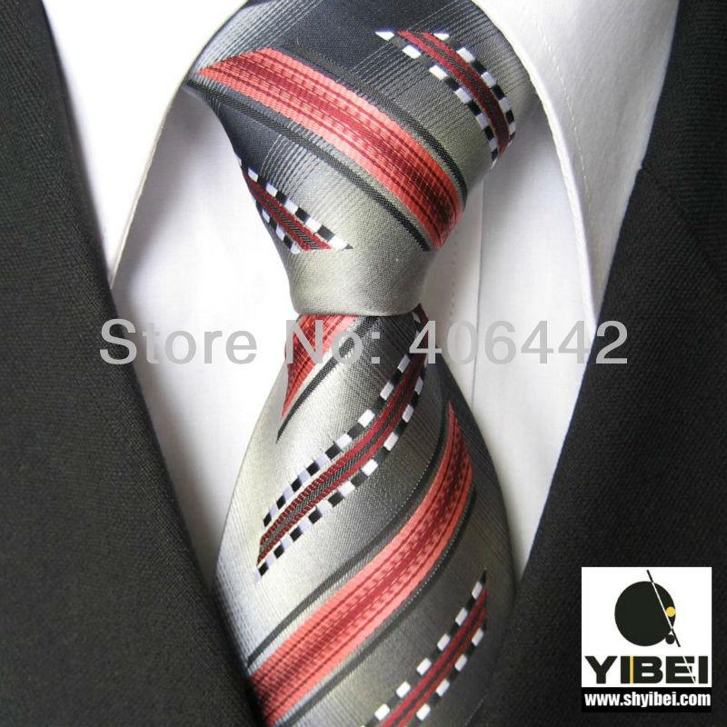 YIBEI Coachella Men's ties Bordered Grey With Coral Black White Stripes Necktie fashion Ties for men dress shirts Wedding 8.5CM(China (Mainland))