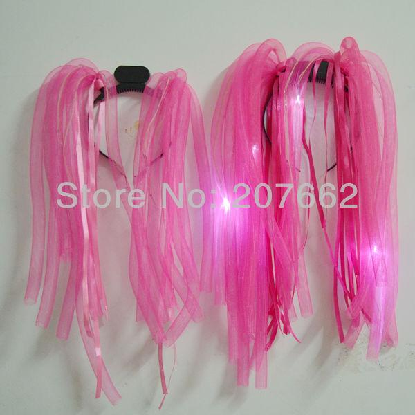 Novelty Free shipping 20pcs/lot Flashing Crazy Hair led noodle headband for party supplies(China (Mainland))