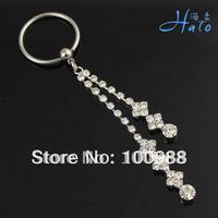BN0098 10PCS/Lot Free Shiping Crystal Nipple Tassel Ring  Crystal Stainless Steel Fashion Ladies' Piercing Nipple Accesories