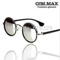 Retail 1PCS discount Reflective mirror cool Retro Round eyeglasses Resin lenses Small framed glasses Sheet metal sunglasses