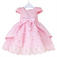 girls Performances for children princess short sleeve bowtie  Flower Girl Dress ruffles clothes ball gown dresses SK1032 sale