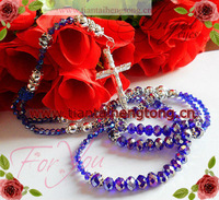 2012 newest style 8mm blue shamballa rhinestone crystal rosary necklace special offer