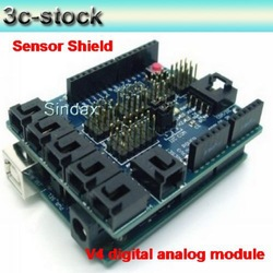 Sensor Shield V4 digital analog module & servo for UNO/Duemilano/MEGA Experiment. free shipping(China (Mainland))