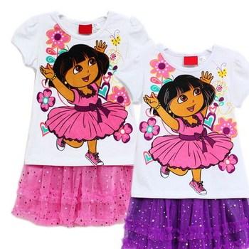 New arrival,kids dora garment set.8 sets/lot+size 2.2.3.3.4.4.5.5+purple/pink +good workmanship,girls summer clothes set