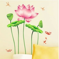 Free  shipping Wall paster/ Living room Art Wall Sticker,Flowering water lily Drawing room stickers,Room decoration,home decor