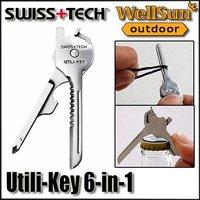 MOQ:5pcs 100% OEM SWISS + TECH Pocket Knife 6 In 1 Utili-Key Multitool Survival Knife Folding Knife Free Shipping #ST01