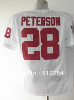Free Shipping,#28 Adrian Peterson Jersey,College Football Jersey,embroidery logos,size 48-56,mix order