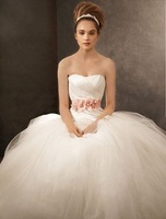 King's Love A-Line Taffeta &Tulle Motified Sweetheart neckline with Delicated Belt Wedding Dress Designer Bridal Gown