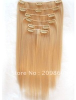 "Promotion!!! The Most Popular Blond 613# 18""-24"" REMY  HAIR CLIP IN EXTENSION+ FREE SHIPPING"