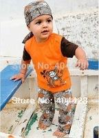 119# FREE SHIPMENT SUMMER STYLE MONKEY & BEACH T shirt+headband+pants  KID'S SUITS WHOLESALES