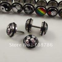 50pcs Free Shipping steel Skull Spider Body jewelry Ear Stud LOGO Fake Ear Plug Flesh Tunnel
