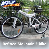 DIY refitted 36V 26'' electronic Mountain bike Folding electric bike,Black/White,FOB.Free-factory wholesale