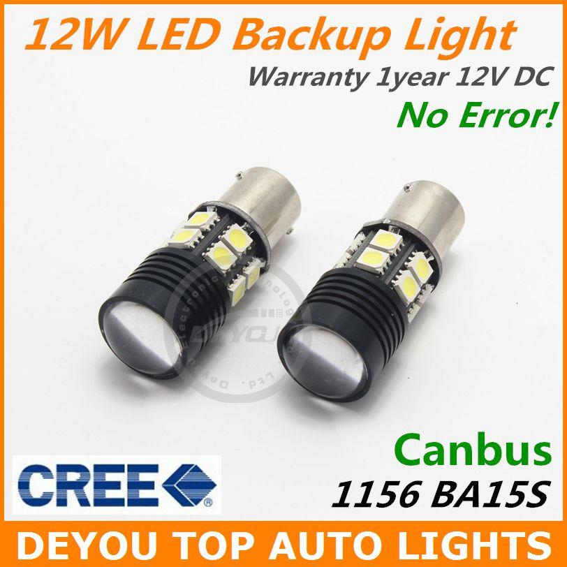 2pcs No Error Canbus CREE White LED Backup Reverse Light Bulb BA15S 1156 7506 P21W S25 1year warranty(China (Mainland))