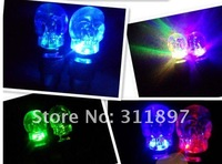 Bicycle Bike Motorcycle Skull Head Colorful LED Wheel Valve Cap Flash Light, Tire Safety Warning Caution Lights