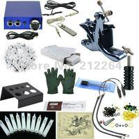 Single silver tattoo machine tattoo kits  tattoo Set of blue aluminum alloy mini-power steel pedal Hot sell