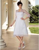 Stunning A-line 3/4 Length Sleeve Knee-length Organza Wedding Dress