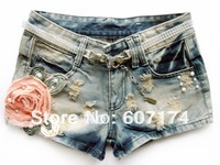 2013 fashion ladies slim hole flower denim ultra-short thermal Denim Jeans casual shorts Size:S-XL Free shiping