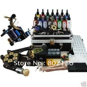 New Tattoo Kit Equipment 15Inks 2Machines Guns Grips Needles Power Set-Free express shipping